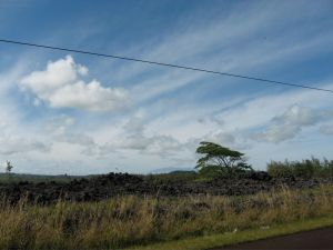 View of Mauna Kea in the distance off Red Road near Kapoho