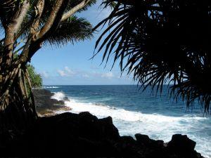 Waves Breaking on Lava Rock