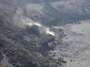 Sulphur emitting from Halema'uma'u Crater in February 2007