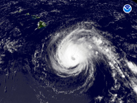 Hurricane Flossie on August 14, 2007, south of Hawaiian Islands. (Credit: NOAA)