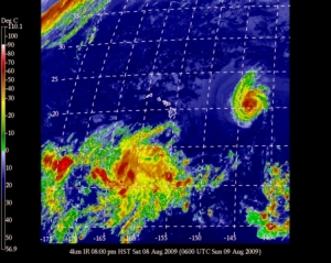 Current satellite image of Hurricane Felicia heading toward Hawaii