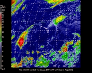 Downgraded to a tropical depression, Felicia sits northeast of the Hawaiian Islands while tropical storm Maka develops southwest of the Islands