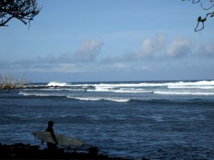A surfer enters the water at Pohoiki