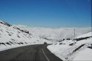 Photo of snow covered road to Mauna Kea.