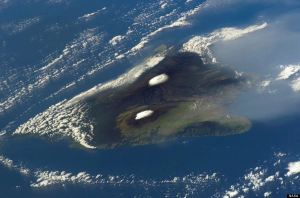Hawaii's Big Island from Space - Mauna Kea and Mauna Loa snow capped.