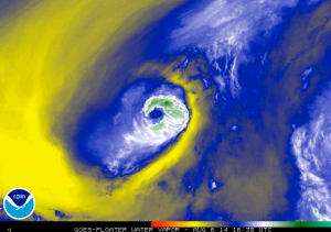 Battle between Pele (yellow, warm dry air) and Iselle (blue, moist cool air).
